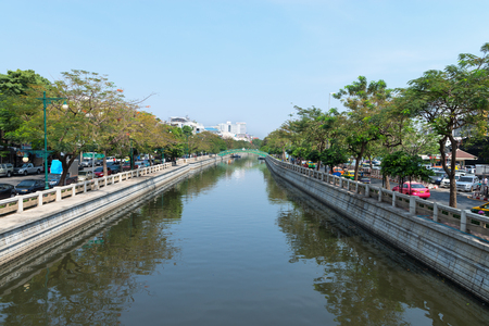 BANGKOK, THAILAND - 7 FEB 2016: Major canal cutting through the heart of Bangkok, Thailand.
