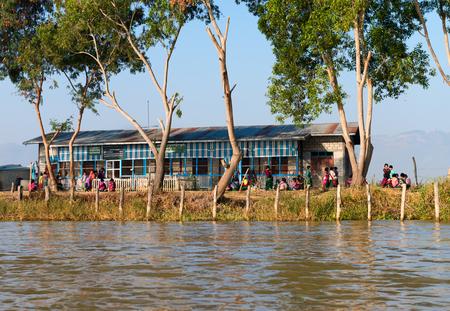 INLE LAKE, MYANMAR - 07 JAN 2014: Public school along Inle Lake in Myanmar.