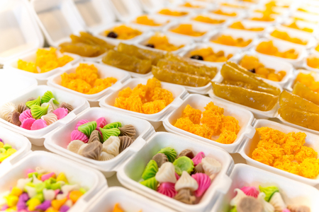 Sweets stall on thai open market counter at Phuket, Thailand