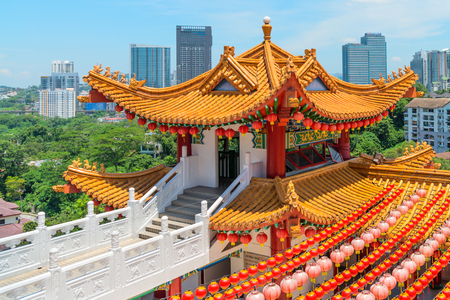 KUALA LUMPUR, MALAYSIA - 22 MAR 2017: Colorfull decorative tower with spectacular roofs, ornate carvings and intricate embellishments in chinese Thean Hou Temple