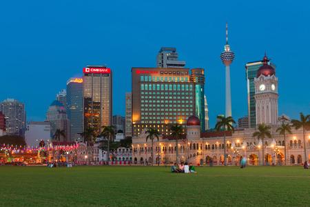 KUALA LUMPUR, MALAYSIA - 1 FEB 2015: Sultan Abdul Samad Building at evening twilight in Kuala Lumpur, Malaysia