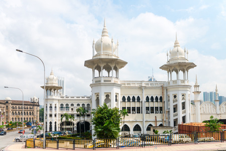 KUALA LUMPUR, MALAYSIA - 31 OCT 2014: Old railway station in the unique Anglo-Asian architecture style with domes and columns