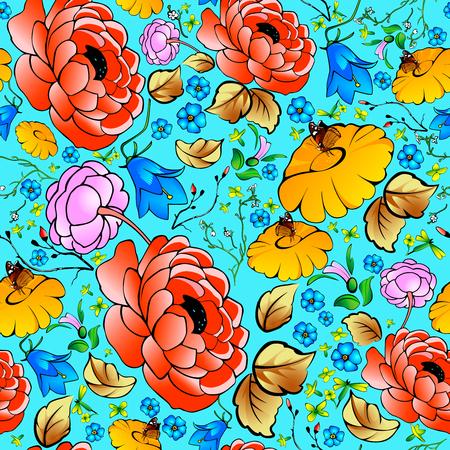 bellflower: Seamless pattern with the image of red, pink peony, yellow celandine, gerbera, yarrow herb, bellflower
