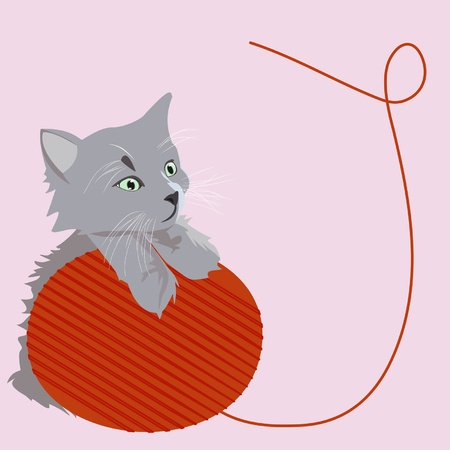 clew: A little cat is playing with a clew Illustration