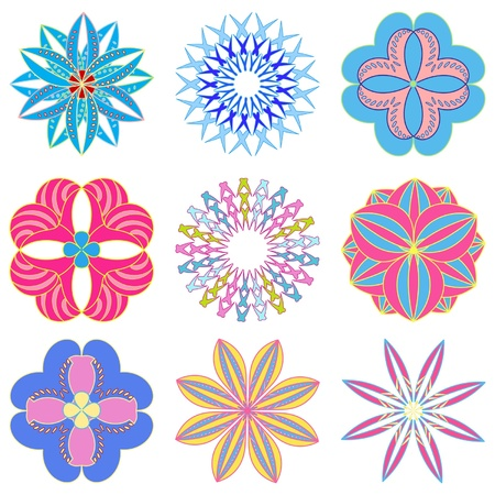 set of abstract flowers Stock Vector - 13068942