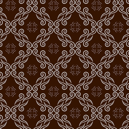 linen texture: chocolate seamless pattern with swirl ornament
