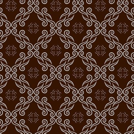 chocolate seamless pattern with swirl ornament