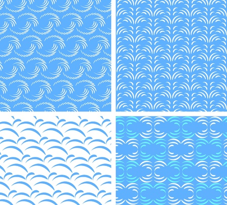 four seamless textures of abstract water Vector