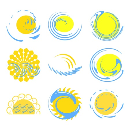 storm tide: set of beach icons with water and sun