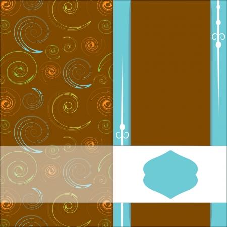 orange swirl: card with decoratie elements Illustration