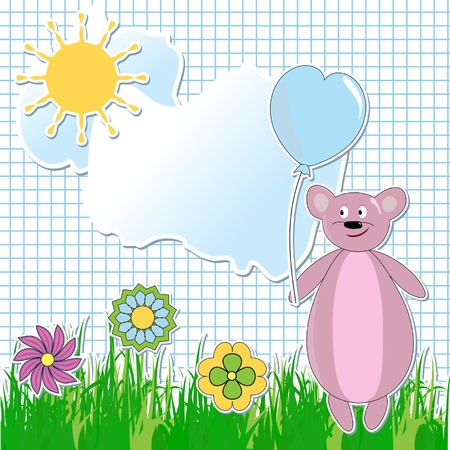 fun grass: a card with a bear, grass, clouds, flowers and the sun