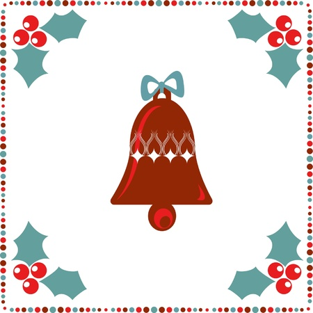 winterberry: retro holiday card with a bell and winterberry on the white