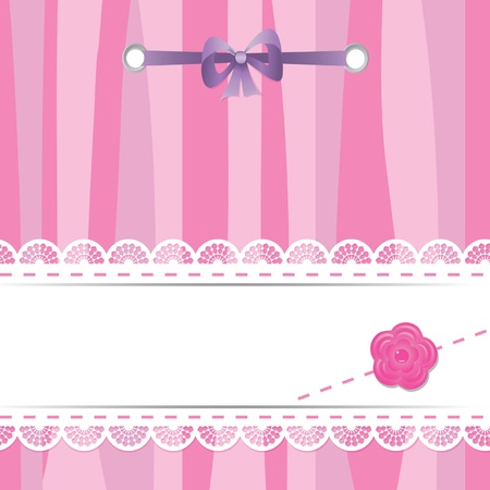 card with laces, flower and ribbon Illustration