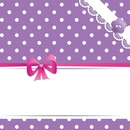 scrap booking: violet card with a ribbon and lace Illustration