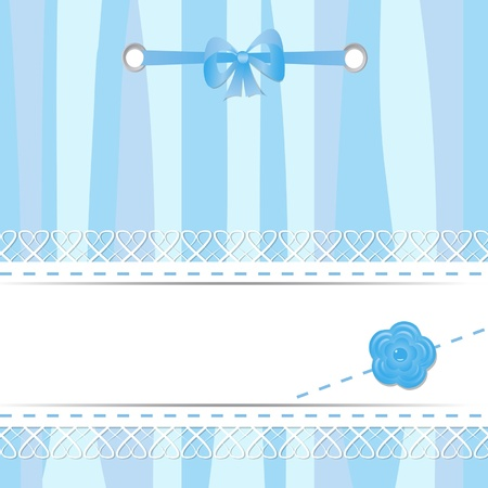 blue card with laces, flower and ribbon Vector