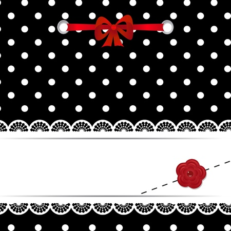 greeting card or scrapbook template with a ribbon, a flower and laces