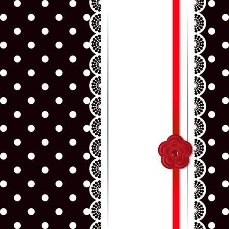 card with laces, red ribbon and flower Vector