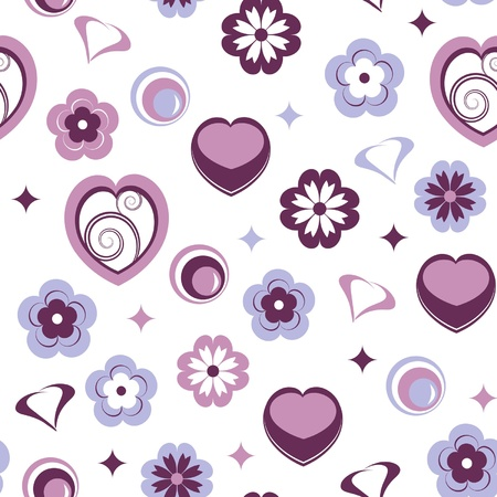 seamless pattern with flowers and hearts Stock Vector - 15912135