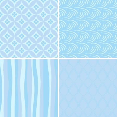 set of blue seamless patterns Vector