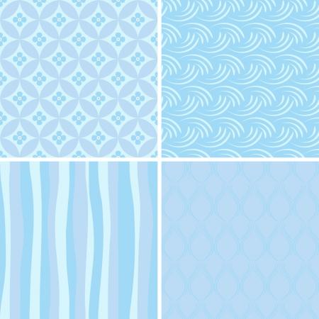 blue smiling: set of blue seamless patterns