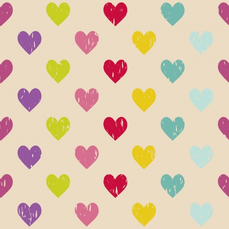 colorful grunge seamless pattern with hearts Stock Vector - 16110025