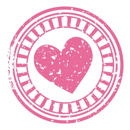 pink stamp with a heart