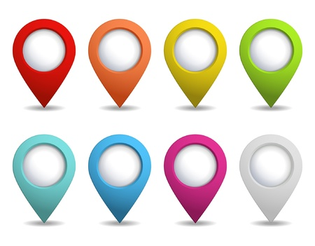 location: set of colorful map pointers Illustration