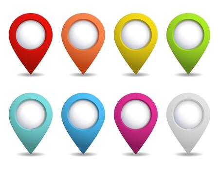 speld: set van kleurrijke kaart pointers Stock Illustratie