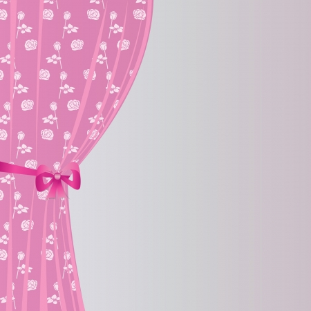 girls with bows: background with a curtain Illustration