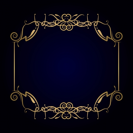 golden border: golden frame on the dark blue background Illustration