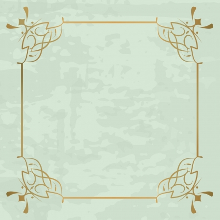 vintage background with a golden frame Illustration