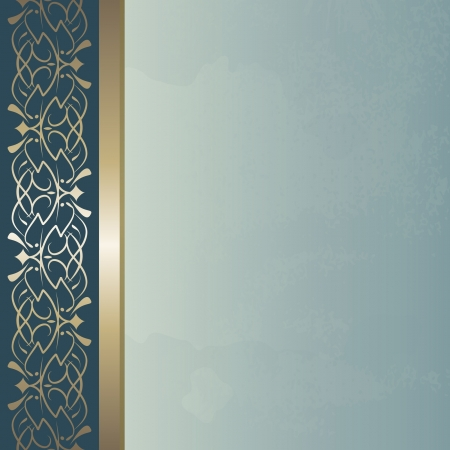 elegant: blue vintage background with a golden border