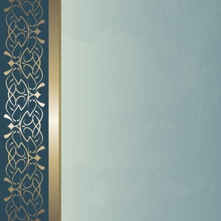 copertina libro antico: sfondo blu vintage con un bordo dorato Vettoriali