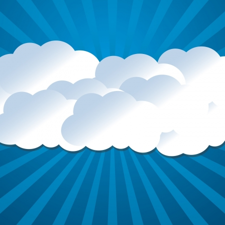 bright background with clouds and sun rays Vector