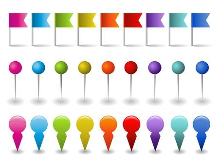 pin: conjunto de banderas, pins y punteros Vectores