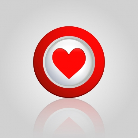 red button with a heart Vector