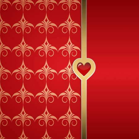 red background with a pattern and a golden border Vector