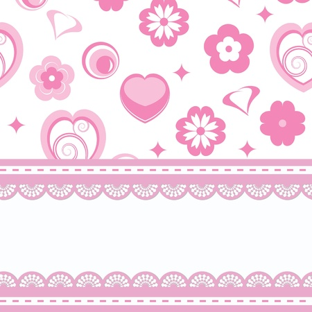 pink bubbles: greeting card or baby shower for a girl Illustration
