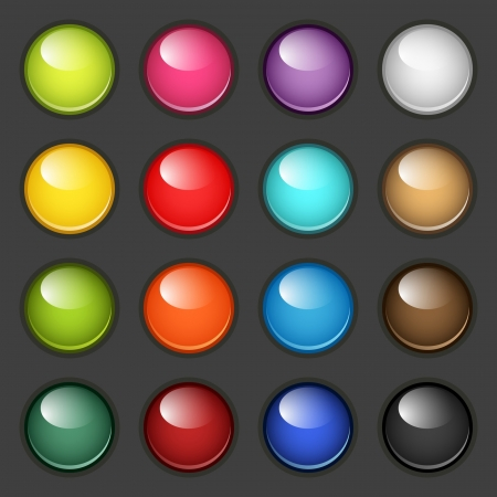 set of round glossy buttons Vector
