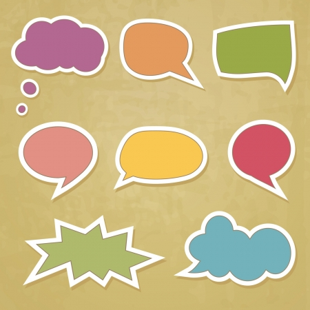 set of retro speech bubbles on the groungy background Vector