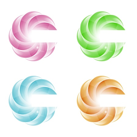 bright wavy design element in four colors
