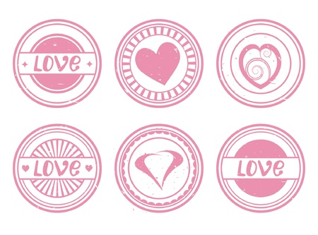 love stamp: set of used pink stamps