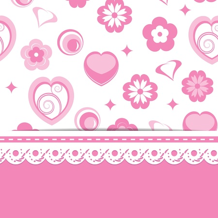 pink greeting card or a baby shower for a girl Vector