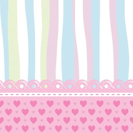 레이스, 줄무늬와 하트 패턴으로 아기 카드