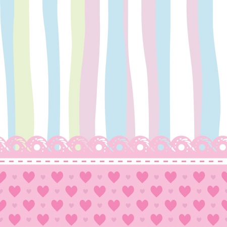 baby girl pink: baby card with a lace, stripes and a pattern of hearts