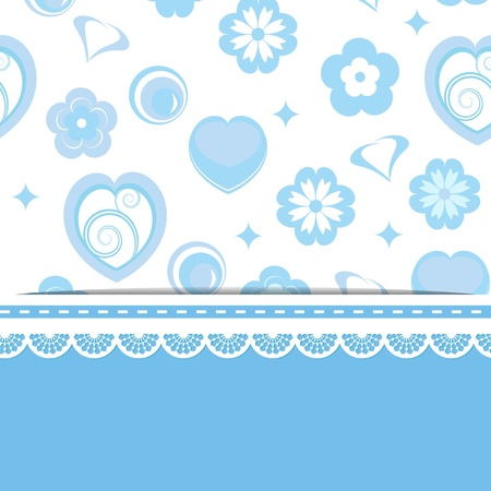 blue card with a pattern and a lace Illustration