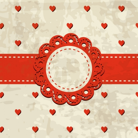 retro background with hearts and a frame with a lace Stock Vector - 17624719
