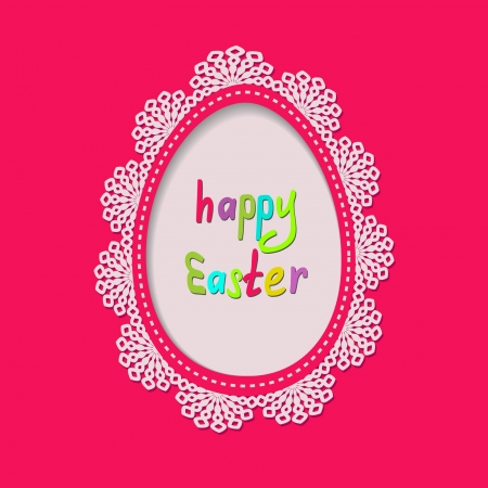 pink greeting card with an egg frame with a lace Stock Vector - 17948578
