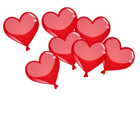 red heart ballons on the white background Vetores