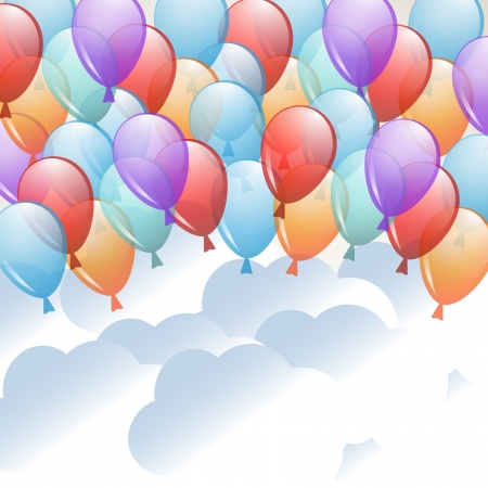 background with a balloons flying in the sky Stock Vector - 17948592